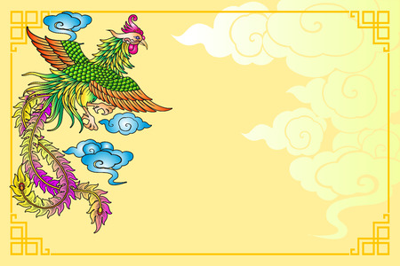 Vector vintage Chinese phoenix engraving with retro ornament pattern in antique rococo style decorative design