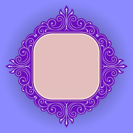 rococo style: Vector vintage border frame engraving with retro ornament pattern in antique rococo style decorative design Illustration