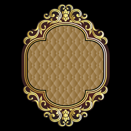 pattern antique: Vector vintage border frame engraving with retro ornament pattern in antique rococo style decorative design
