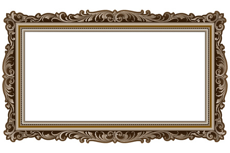 Vector vintage border frame engraving with retro ornament pattern in antique rococo style decorative design 矢量图像