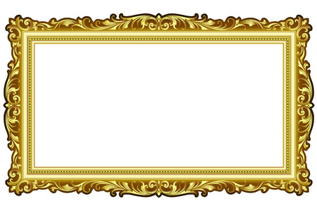 Vector vintage border frame engraving with retro ornament pattern in antique rococo style decorative design  イラスト・ベクター素材