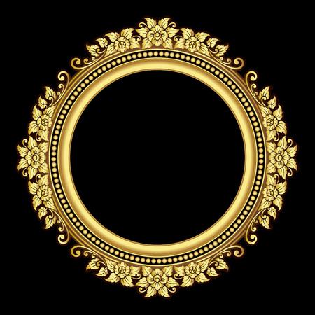 antik: Vector Vintage-Grenze Rahmen Gravur mit Retro-Ornament-Muster im antiken Stil des Rokoko dekorative Gestaltung