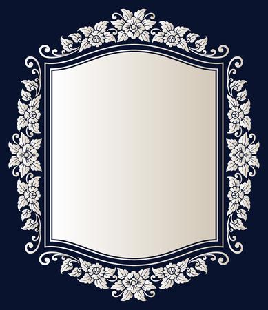 Vector vintage border frame logo engraving with retro ornament pattern in antique rococo style decorative design Logo