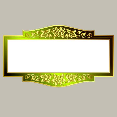 rococo: Vector vintage border frame engraving with retro ornament pattern in antique rococo style decorative design Illustration