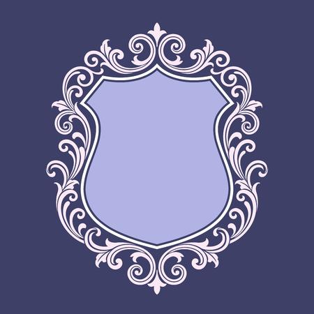 rococo style: vintage border frame engraving with retro ornament pattern in antique rococo style decorative design