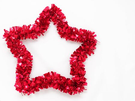 Red glitter Xmas rainbow in star shaped isolated on white background Stock Photo
