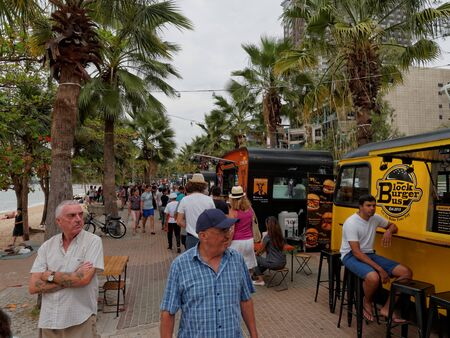 PATTAYA, THAILAND - FEBRUARY 3, 2017: Food trucks selling food and dessert, which is new business trend in Thailand