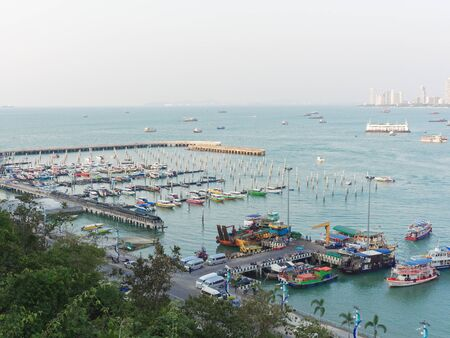 Pattaya scenery with speed boat or yacht marina near Bali Hai pier