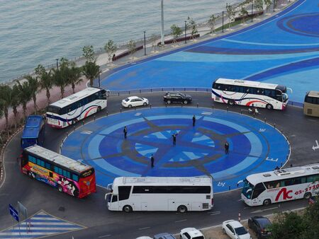 Pattaya scenery with tourists transit from coach to ferry at Bali Hai pier