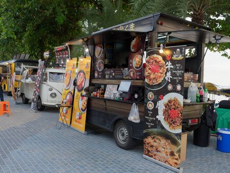 PATTAYA, THAILAND - MAY 8, 2018: Food trucks are selling food and dessert, which is new trend in Thailand business model to promote tourism, in Pattaya Seafood Festival