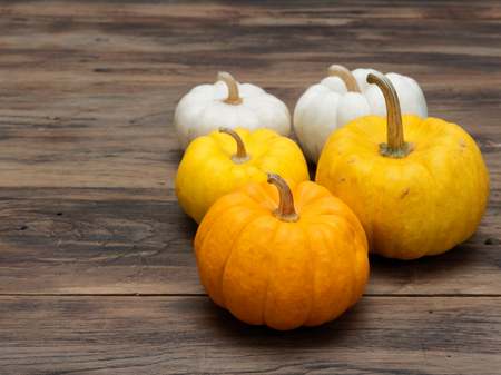 Big and small yellow pumpkins and one orange medium pumpkin on dark wooden background show colorful pattern and scale used in Halloween, still life, kitchen, and comparison, and country themes