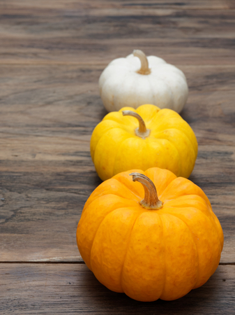Small white, medium yellow, and big orange pumpkins put vertically on dark wooden background show colorful pattern and scale used in Halloween, still life, kitchen, and comparison, and country themes