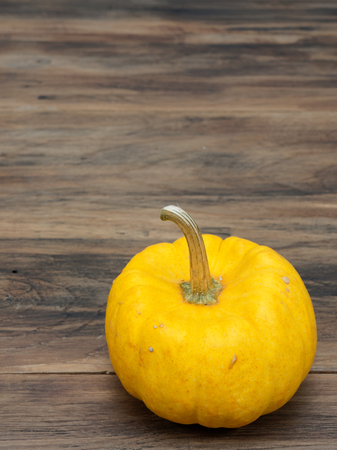 Yellow organic pumpkin on dark wooden background show colorful pattern and scale used in Halloween, still life, kitchen, and comparison, and country themes Stock Photo