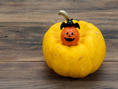 Yellow organic pumpkin and orange miniature ceramic pumpkin with black bat on dark wooden background used in Halloween, still life, kitchen, and comparison, and country themes