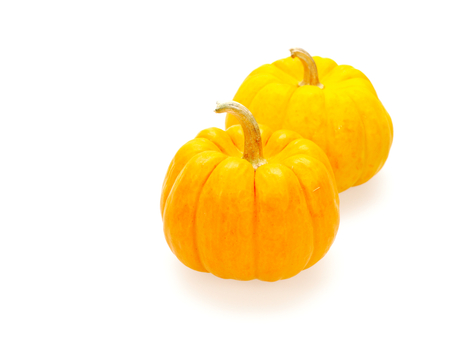Two orange pumpkins in Big and small size isolated on white background show colorful pattern and scale used in Halloween, still life, kitchen, and comparison themes