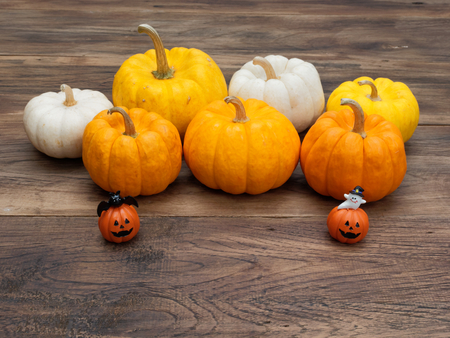 Orange miniature decoration ceramic pumpkins with white ghost and black cat with white, yellow, and orange pumpkins on the background over dark wooden surface used in Halloween and decoration Stock Photo