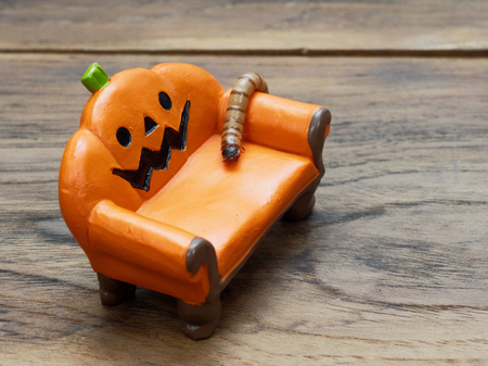 Super or giant worm crawling on orange miniature ceramic pumpkin couch or sofa over dark wooden surface with copy space used as background in Halloween, ornament, celebration, and decoration Archivio Fotografico