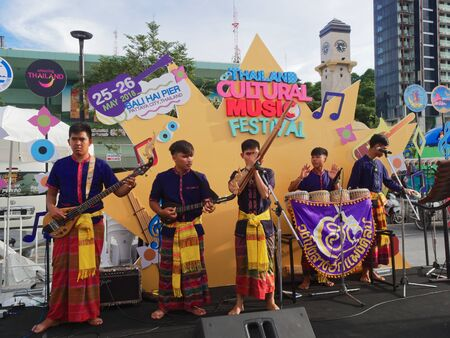 PATTAYA, THAILAND - MAY 25, 2018: Thai local folk band from Isan performing on small stage in Thailand Cultural Music Festival Editoriali