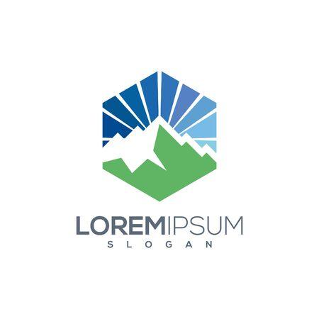 Simple Modern Mountain Logo Design Vector.