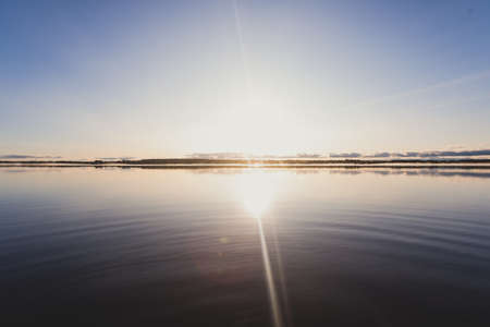 View of Kem River, Kemijoki, in a Liedakkala village in the municipality of Keminmaa in Lapland in north-western Finland, beautiful summer dawn sunrise