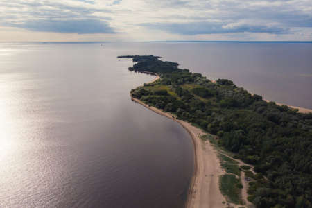 Aerial summer vibrant view of West Kotlin state nature reserve, ecological path trail with bird watching tower, Kotlin island, Kronstadt, Saint-Peterburg, Russia Standard-Bild
