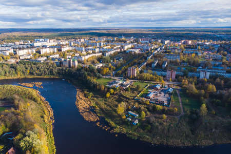Kingisepp, town and the administrative center of Kingiseppsky District of Leningrad Oblast, Russia, with Luga River, aerial drone summer view