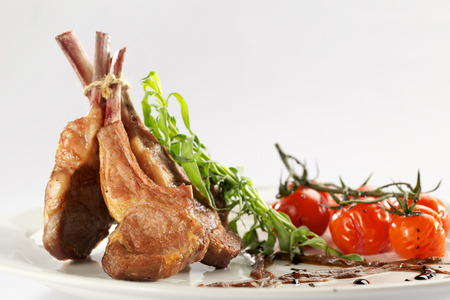 rack of lamb: Rack of lamb with roasted cherry tomatoes