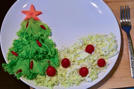 Christmas tree made of lettuce on a white dish. 版權商用圖片