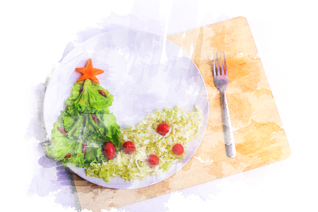 Watercolor of Christmas tree made of lettuce on a white dish. Illustration