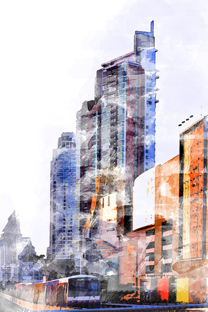 Watercolor of Metro is surrounded by high-rise buildings. Illustration
