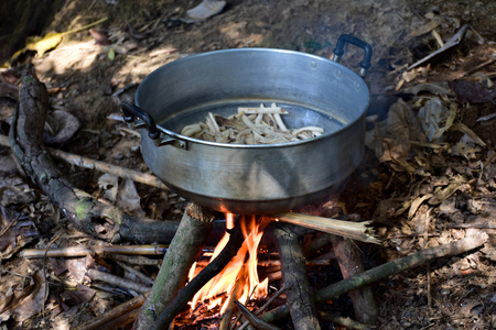 Firewood, cooked food Living in the woods using firewood. 版權商用圖片