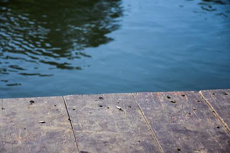 Wooden raft on the river kwai kanchanaburi thailand