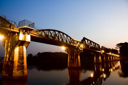 Night River Kwai Bridge in Kanchanaburi Thailand , The place has been war.