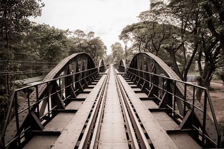 Structural Steel Bridge of Railways across the River Kwai in Kanchanaburi Thailand. (Sepia Tone)