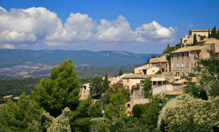 hilltop: Provence village of lurs perched on a hilltop with the luberon valley stretching out below.
