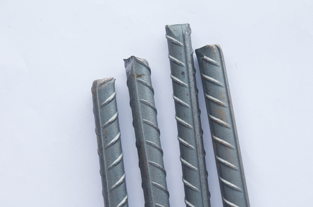 High tensile reinforced steel bar on white background