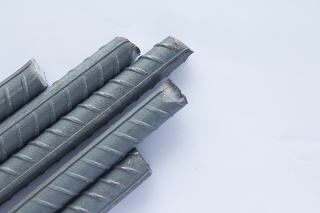 High tensile reinforced steel bar isolated on white background