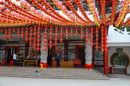 Kuala Lumpur Malaysia. March 8, 2017. Chinese temple with red lantern decorations, Chinese New Year, Lunar New Year