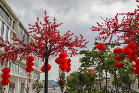 Outdoor Chinese New Year decorations of red lanterns