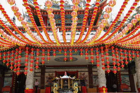 Kuala Lumpur Malaysia. March 8, 2017. Chinese temple with red lantern decorations, Chinese new year decorations, Lunar new year