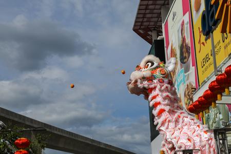 Petaling Jaya, Malaysia. Jan 1, 2017. Acrobatic Lion Dance performance during New Year day, Lion distributing Mandarin oranges, Editorial