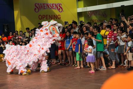Petaling Jaya Malaysia. Jan 1, 2017. Lion greeting patrons during performance on New Year day Editorial