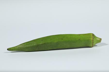 Okra (Abelmoschus esculentus) isolated on white background Stock Photo