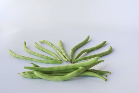 Snap beans (Phaseolus Vulgaris) isolated on white, group of green beans