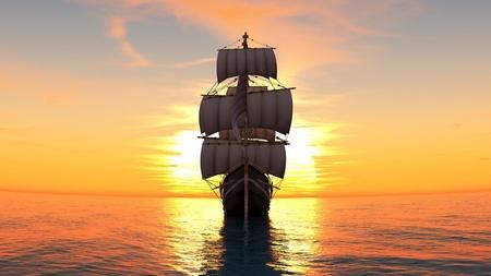 setting sun: sailing boat