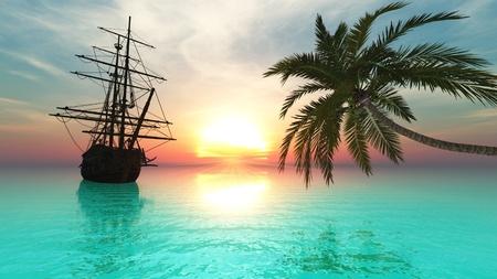 pirates: sailboat