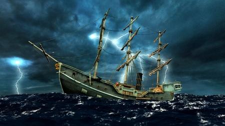 sea storm: sailboat