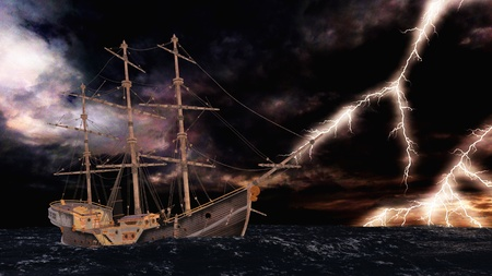 mare mosso: barca a vela Archivio Fotografico