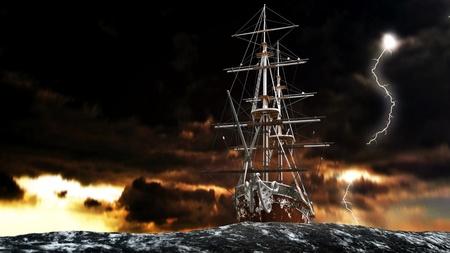 mare agitato: barca a vela Archivio Fotografico