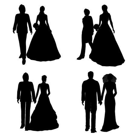 silhouette of bridal couple photo